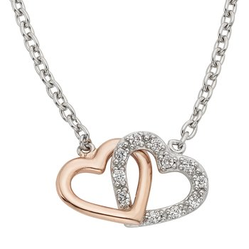 Sterling Silver and Rose-plated 1/8ct Diamond Double Heart Pendant