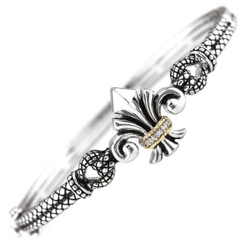 18kt and Sterling Silver Fleur de Lis Diamond Bangle (Large)