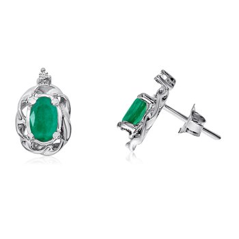 14k White Gold Emerald Scroll Diamond Earrings