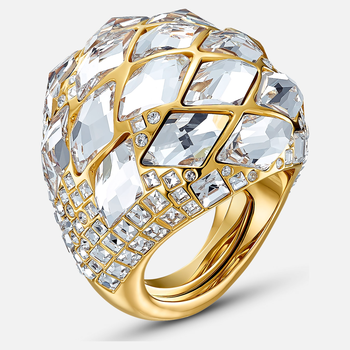Tropical Ring, White, Gold-tone plated