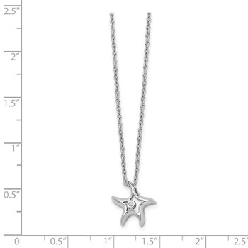 SS White Ice Diamond Starfish Slide Pendant Necklace