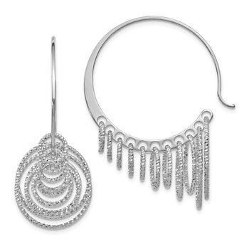 Leslie's Sterling Silver Polished and Laser-cut Hoop Earrings