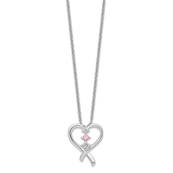 10k White Gold Survivor Clear/Pink Swarovski Topaz Heart of Resilience Neck