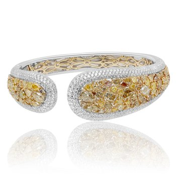 Yellow Diamond Cluster Bangle
