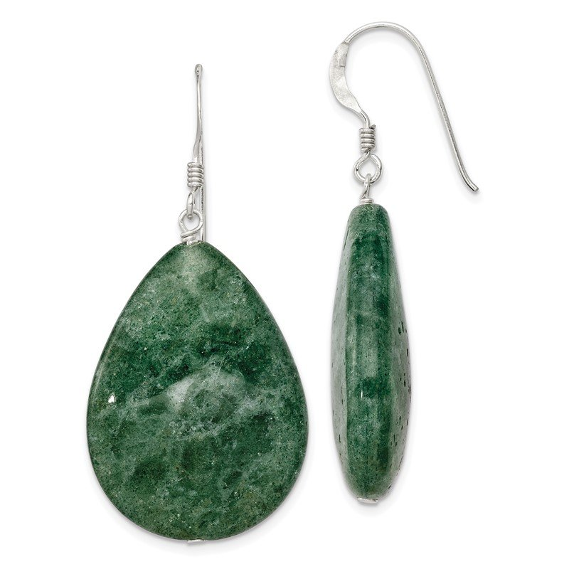 Quality Gold Sterling Silver Large Crack Aventurine Green Tear Drop Earrings