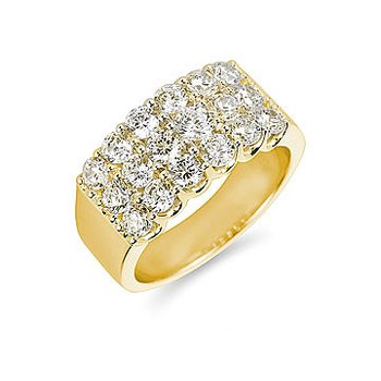 14K YG Diamond Anniversary Band Ring with 3 Rows of Prong Set Diamonds