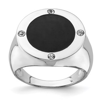 Sterling Silver Rhodium Plated Black Simulated Onyx & CZ Ring