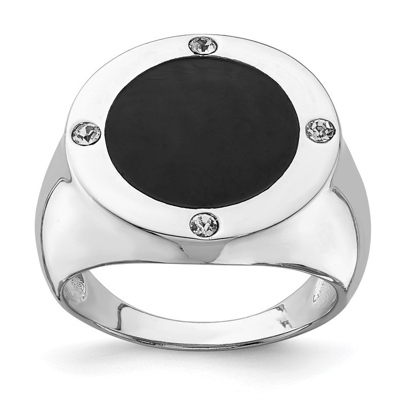Quality Gold Sterling Silver Rhodium Plated Black Simulated Onyx & CZ Ring