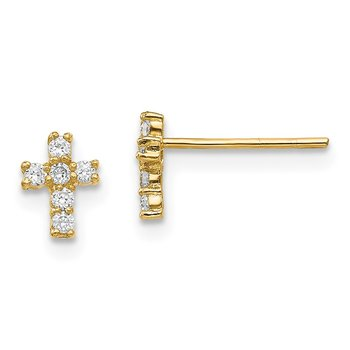 14K Madi K Polished CZ Cross Post Earrings