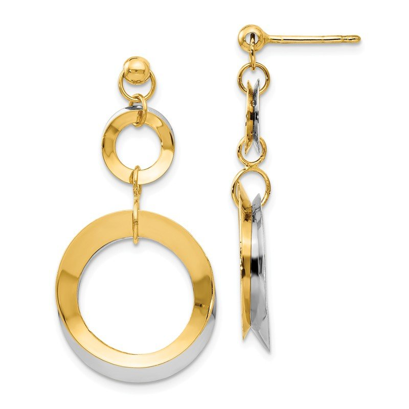 Leslie's Leslie's 14k Two-tone Polished Circle Reversible Post Earrings