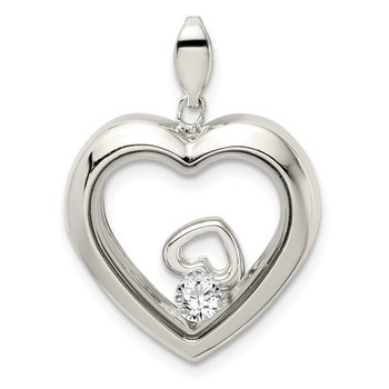 Sterling Silver CZ 19mm Heart Glass Pendant