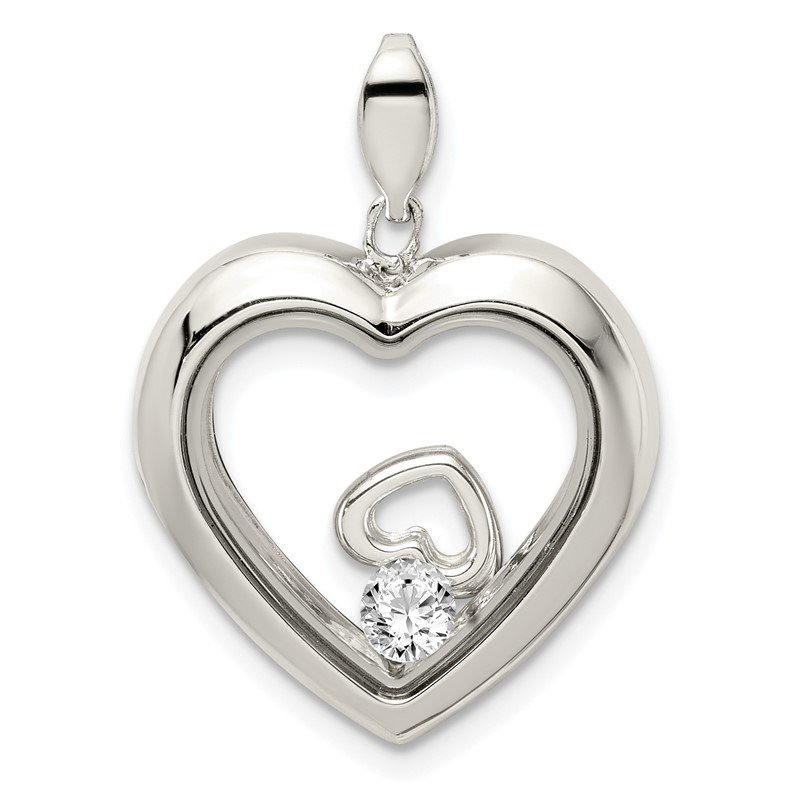Quality Gold Sterling Silver CZ 19mm Heart Glass Pendant