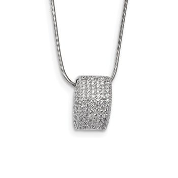 SS Rhodium-Plated CZ Brilliant Embers Fancy Necklace