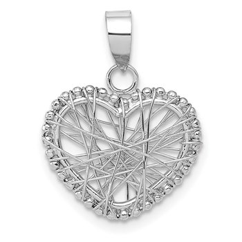 14K White Gold Open Wire Heart Pendant