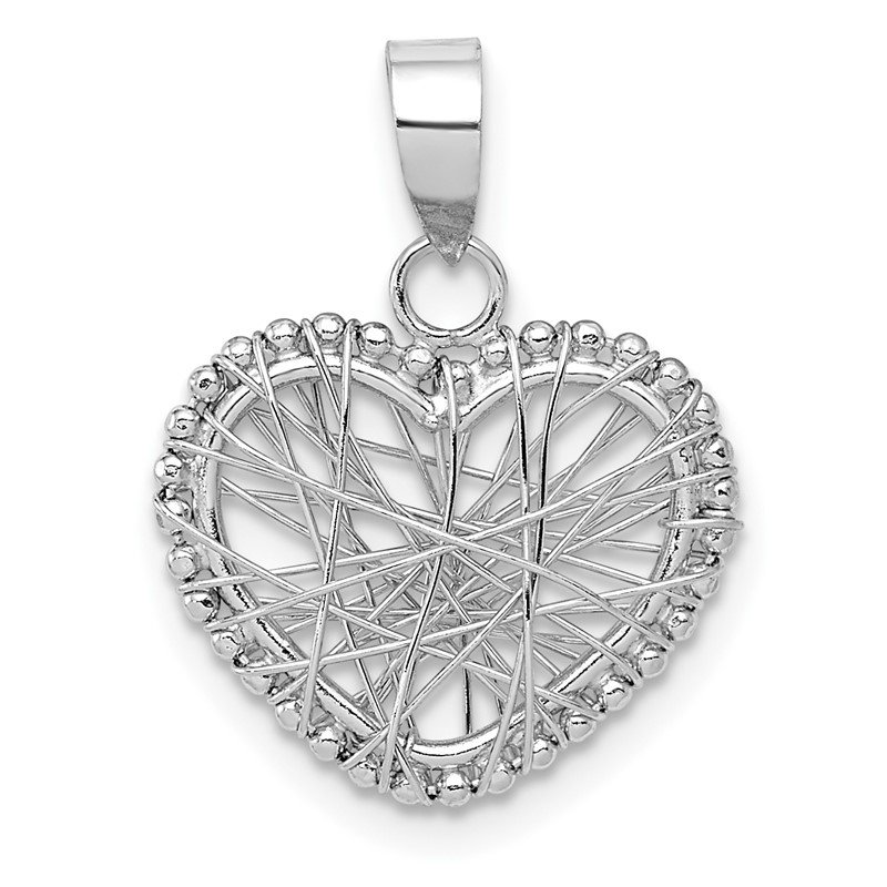 Quality Gold 14K White Gold Open Wire Heart Pendant