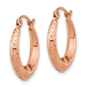 14K Rose Gold Textured Hollow Hoop Earrings