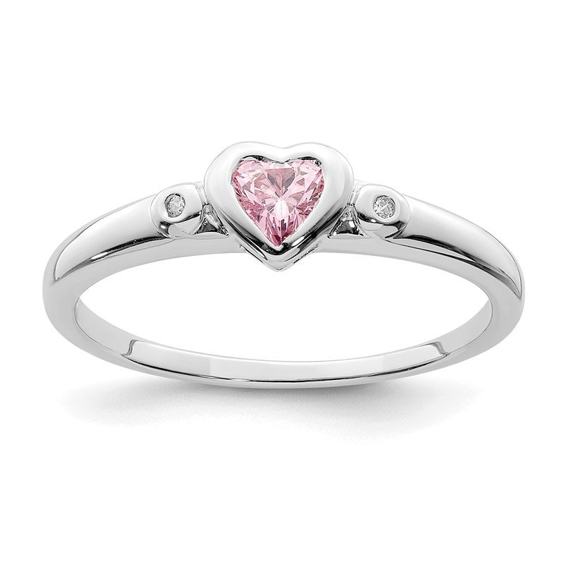 Quality Gold Sterling Silver Rhodium-plated White & Pink CZ Heart Ring