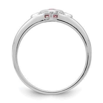 Sterling Silver Rhodium-plated White & Pink CZ Heart Ring