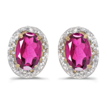 10k Yellow Gold Oval Pink Topaz And Diamond Earrings