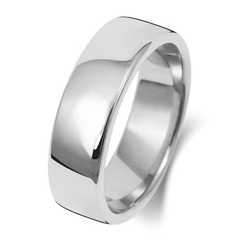 9Ct White Gold 6mm Soft Court Wedding Ring