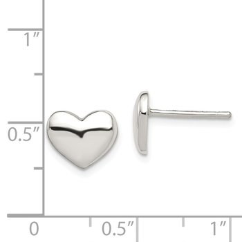 Sterling Silver Polished Heart Post Earrings