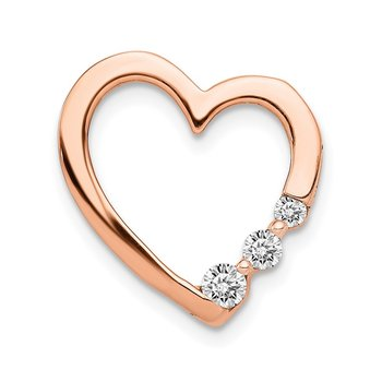 14k Rose Gold 1/6ct. Diamond Heart Chain Slide