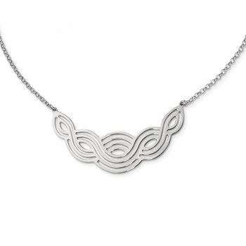 Sterling Silver Rhodium-plated Polished 17inch Fancy Necklace