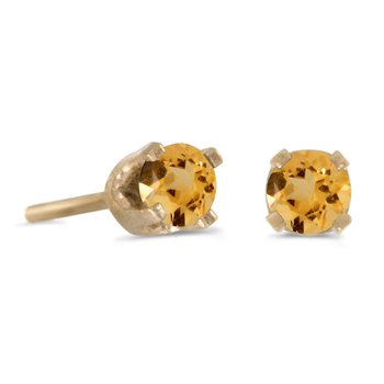 14k Yellow Gold Genuine Petite 3 mm Round Citrine Stud Earrings