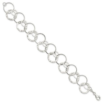 Sterling Silver Polished Textured Fancy Circle Link Bracelet