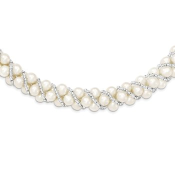 Sterling Silver Rhodium 6-7mm FWC Pearl/Glass Bead Twisted Necklace
