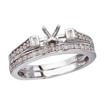 14K White Gold Baguette Diamond Bridal Ring Set