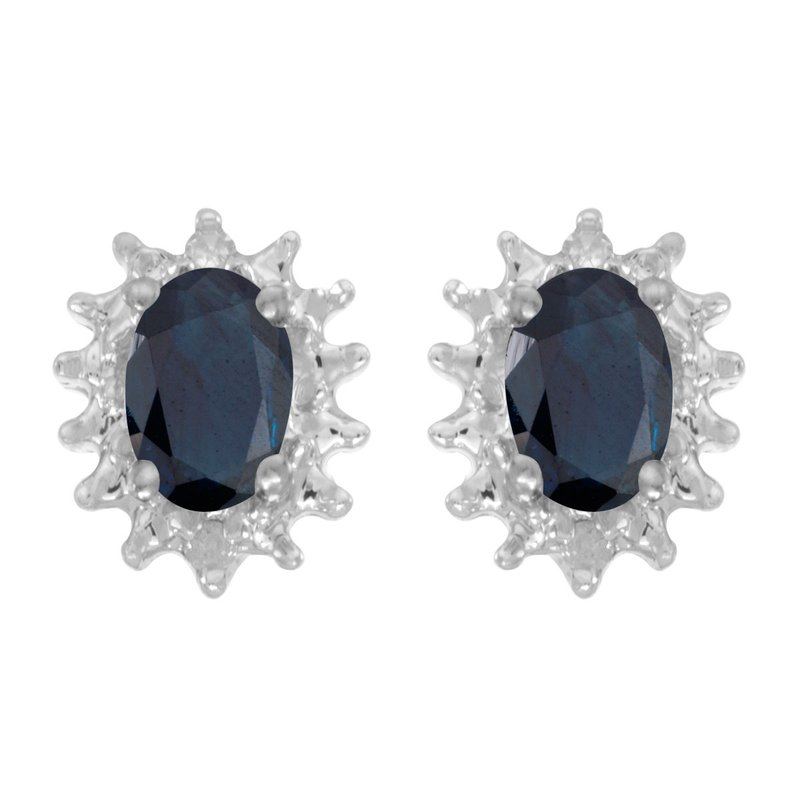 Color Merchants 14k White Gold Oval Sapphire And Diamond Earrings