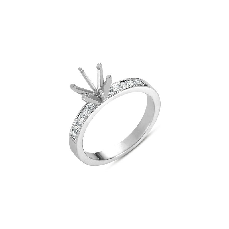 S. Kashi & Sons Bridal White Gold Millgrain Mounting