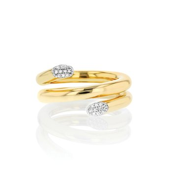 Yellow gold diamond double swivel ring