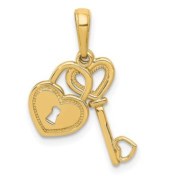 14K Polished Moveable Heart Key and Heart Lock Charm