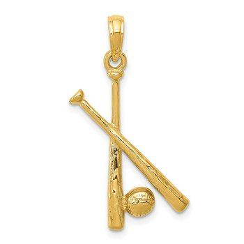 14K Polished Open-Backed Bats and Baseball Pendant