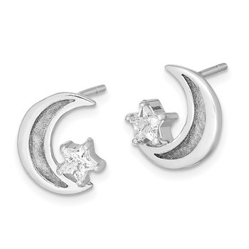 Sterling Silver RH-plate Enamel Glitter Fabric Moon/CZ Star Earrings