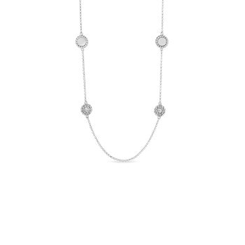 Necklace With Alternating Diamond Stations &Ndash; 18K White Gold