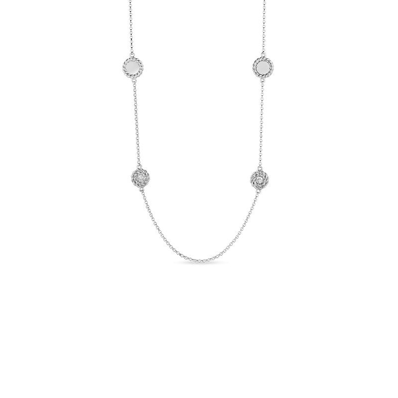 Roberto Coin Necklace With Alternating Diamond Stations &Ndash; 18K White Gold