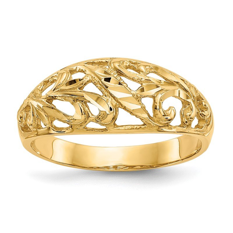 Quality Gold 14K Paisley Diamond-cut Design Dome Ring