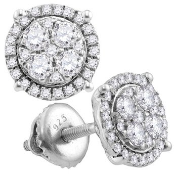 10kt White Gold Womens Round Diamond Circle Cluster Earrings 3/4 Cttw