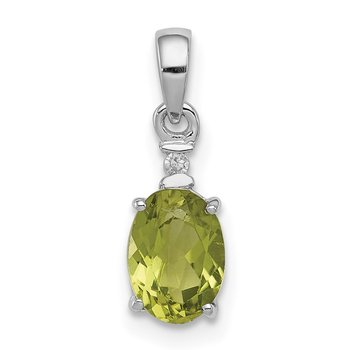 Sterling Silver Rhodium Plated Diamond & Peridot Oval Pendant
