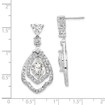 Cheryl M Sterling Silver Rhodium-plated Fancy CZ Post Dangle Earrings