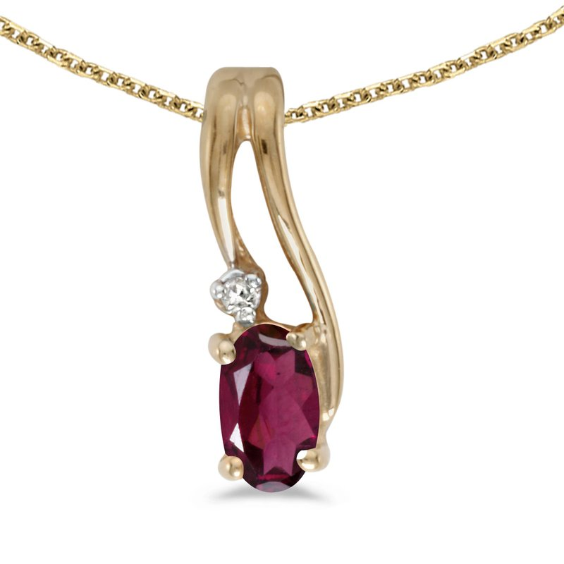 10k Yellow Gold Oval Rhodolite Garnet And Diamond Wave Pendant