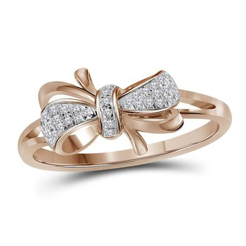 10kt Rose Gold Womens Round Diamond Ribbon Bow Knot Ring 1/10 Cttw