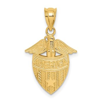14K Polished America Shield Pendant