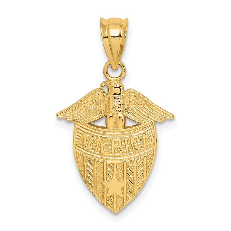 Quality Gold 14K Polished America Shield Pendant