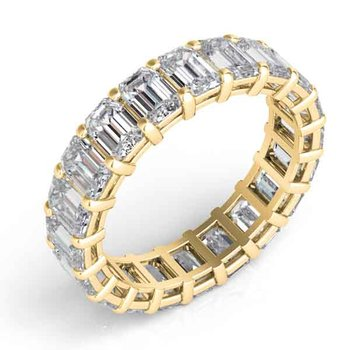 Yellow Gold Emerald Cut Eternity Band