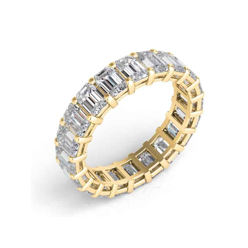 MAZZARESE Bridal Yellow Gold Emerald Cut Eternity Band