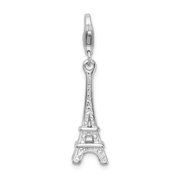 SS RH Polished Eiffel Tower w/Lobster Clasp Charm
